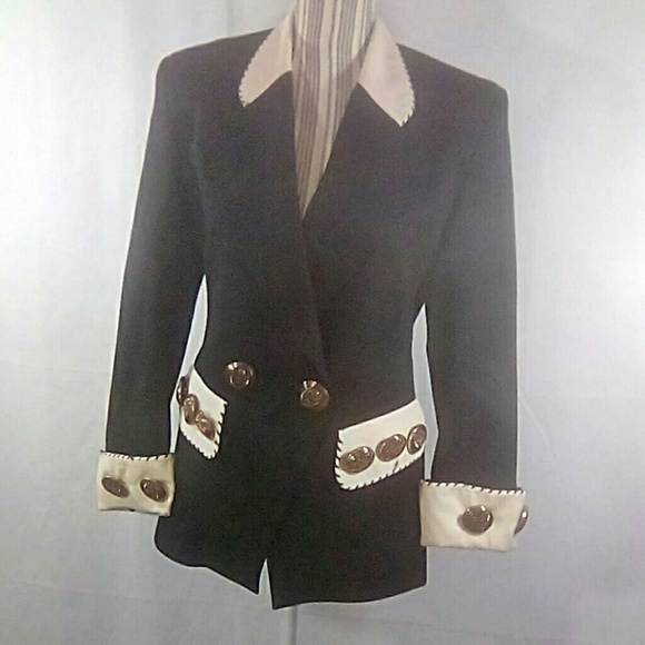 Designer Blazer Black & White Big Brass Buttons